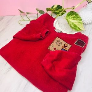 vtg vsco red patchwork funky fuzzy pullover